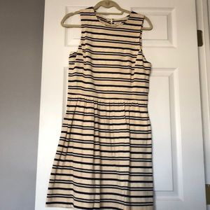 J. Crew Factory cream and blue striped dress